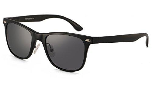 Larvin Torria Polarized Wayfarer Sunglasses with Metal Rivets Grey - Brazil Sunglasses