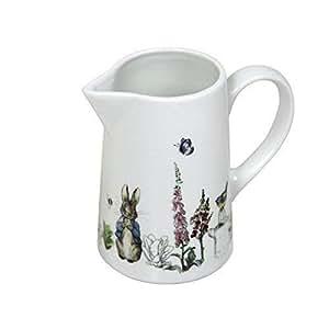 Peter Rabbit Beatrix Potter Azul Gris Porcelana Blanca Jarra de leche alto 10x Ancho 11,5x fondo 5,5cm