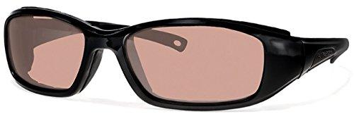 Libert Sport RIDER Sunglasses, Shiny Black Frame, Rose Amber Lens, Unisex