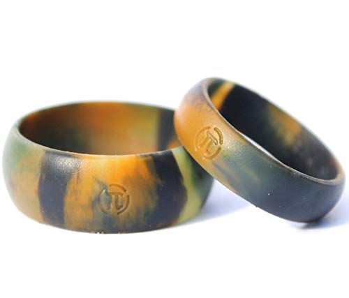 Arthletic Silicone Wedding Ring His & Hers Set - 2 Pack Thin Camo Rubber Wedding Band Set - (Blue Line, Red Line, Camo) (Camo Wedding Rings His And Hers)