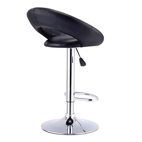 (Honesty Set of 2 Bar Stools Adjustable PU Leather Barstools Swivel Pub Chairs Black)