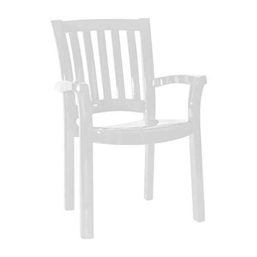 Compamia The Sunshine Resin Dining Armchair (Set of 4), White (Plastic Patio Arm Chair)