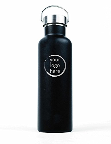 Engraved 25 Oz Sports Mug (Customized Stainless Steel Water Bottle With Your Logo - 25oz (750ml) Premium Double Wall Insulated Vacuum Elemental Bottle Great for Corporate Gifts, Employee Gifts, Holiday Gifts)