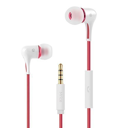 GranVela Mice E300A in-Ear Stereo Heavy Bass Headphones, Tangle-Free Triangle Cable and Noise-Isolating Earbuds - Earphones with Mic (White)