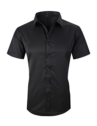 Taobian Mens Casual Business Short Sleeve Button Down Dress Shirt Slim Fit Cotton Shirts 1# Black US X-Large(Asian Tag 5X-Large) Black Cotton Short Sleeve Shirts