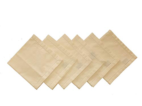 - HomweLinen Dinner Napkins, Oversized 100% Cotton Hemstitch Border Embroidery Napkin, Set of 6-20x20 Inch, Natural Ivory Chambray, Suitable for Dinner, Events & Weddings