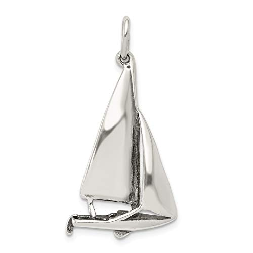 925 Sterling Silver Sailboat Pendant Charm Necklace Sea Shore Boating Travel Transportation Man Fine Jewelry Gift For Dad Mens For Him