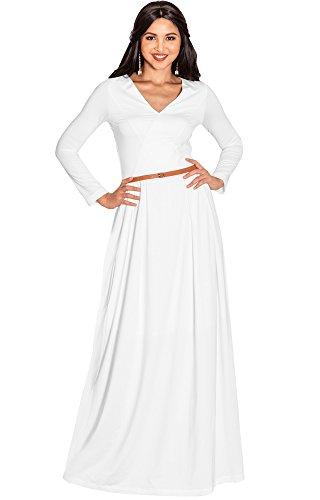KOH KOH Petite Womens Long Full Sleeve Sleeves V-Neck Formal Fall Evening Elegant Flowy Empire Waist Modest Vintage Abaya Muslim Gown Gowns Maxi Dress Dresses, Ivory White S 4-6 -