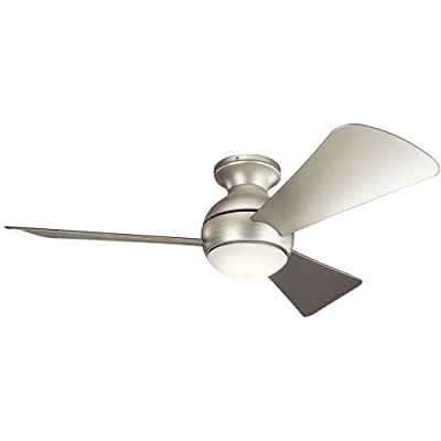 """Kichler 330151 44"""" Indoor / Outdoor Ceiling Fan with Blades, Light Kit and Wall,"""