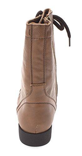 Boots Mid Fab Closed Calf Womens Toe Combat Just Breann Cognac qX78d8w