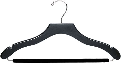 The Great American Hanger Company Wavy Black Wood Suit Hanger w/Velvet Non-Slip Bar, Box of 100 Space Saving 17 Inch Flat Wooden Hangers w/Chrome Swivel Hook & Notches for Shirt Dress or Pants by The Great American Hanger Company (Image #3)