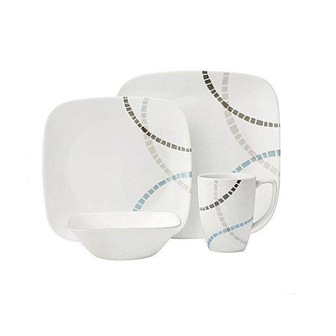 Corelle Boutique Mosaic Bands 16-Piece Dinnerware Set