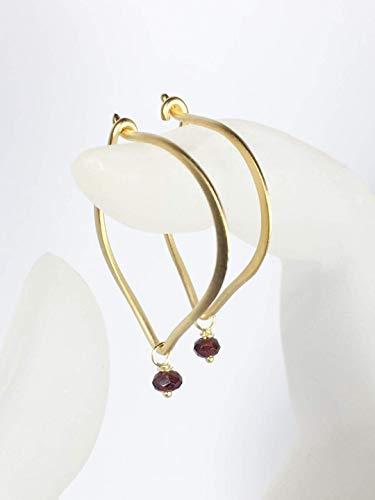 - Garnet Hoop Earrings, Gold Vermeil Ear Wires, January Birthstone, Dainty Gemstone Bead