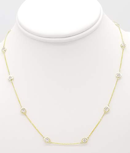Bezel Set Diamond by The Yard Chain Necklace, 14K Gold, 18