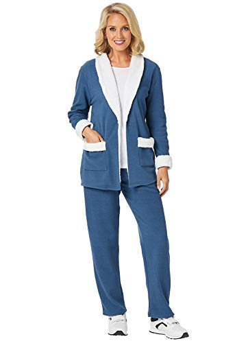 Fleece Lounge Set - Women's Fleece Lounge Set, Color Navy, Size Extra Large (1X), Navy, Size Extra Large (1X)