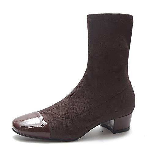 Brown US8   EU39   UK6   CN39 Brown US8   EU39   UK6   CN39 Women's Combat Boots PU Fall Casual Boots Chunky Heel Mid-Calf Boots Black Brown