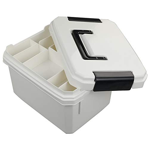 Vababa Rectangular Latching Box, Plastic Storage Container with Locking Lid & Handle (White)