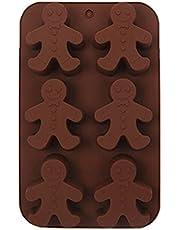 Orapink Julchokladformar – 6-håls pepparkaksgubbe silikonformar, silikon bakform för jul choklad, muffin, godis, muffins, fondant