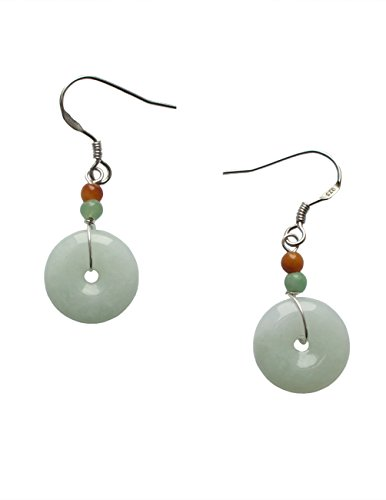 Dahlia Jadeite Certified Grade A Jade Harmony Circlet Coin (Bi) Silver Drop Earrings