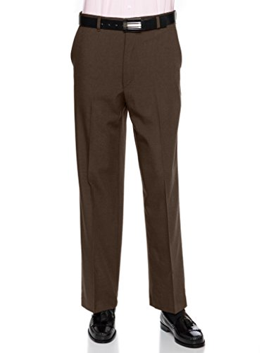 Mens Flat Front Dress Pants – Wool Blend Long Formal Pants for Men, Made in USA Brown 32 Long ()