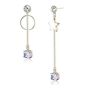 KesaPlan Swarovski Crystal Drop Earrings Star Earrings for Women Girls Sterling Silver Pin Hypoallergenic Dangling…