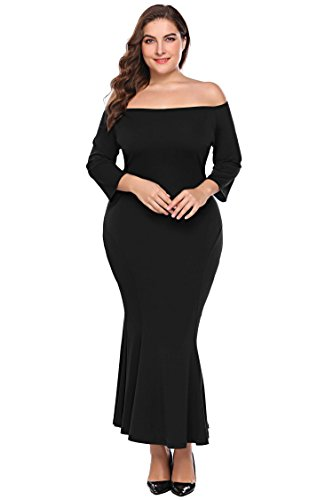 Skirt Black Fishtail Long - Zeagoo Womens Plus Size Off Shoulder Fishtail Gown Cocktail Party Dress,Black,24 Plus