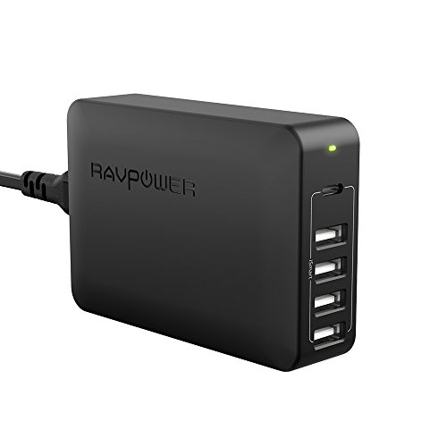 USB C Power Delivery Charger, RAVPower 60W 5-Port USB Wall Charger, Desktop Charging Station with 1 Type-C PD Port up to 45W for Nintendo Switch, MacBook, 4 iSmart 2.0 Ports for iPhone X 8 Plus (Wall Desktop Charger Usb 5 Port)