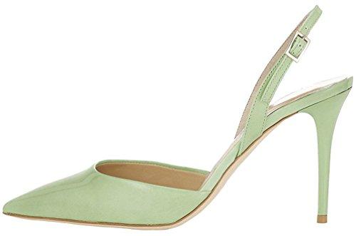 Calaier Mujer Cawish Tacón De Aguja 8CM Sintético Hebilla Sandalias de vestir Zapatos Verde