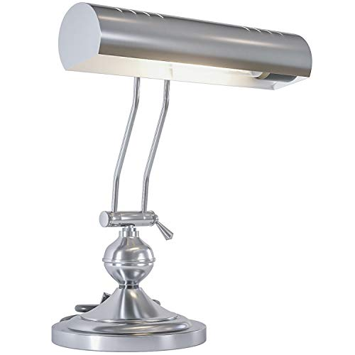Home Intuition Classic Antique Retro Adjustable Leaning Piano Lamp Banker Desk Light, Satin Nickel