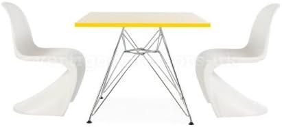 Eames estilo niños cuadrado amarillo mesa y 4 Kids Panton estilo ...