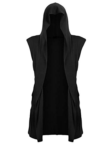 UUANG Mens Sleeveless Draped Lightweight Open Front Longline Hooded Cardigan with Pockets Black,L