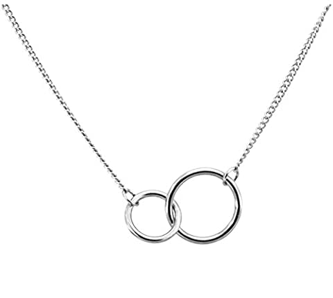 Double Interlocking Circles Pendent Necklace Stainless Steel Silver Tone - Silver Double Circle Necklace