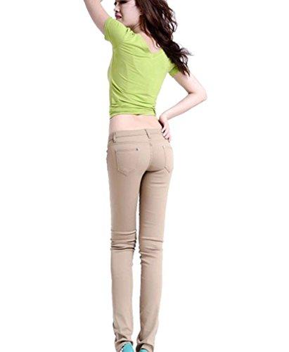 Alta Pantaloni Skinny Runyue Slim A Matita Donna Stretch Pantalones Vita Casuali Cachi 6awqXZw