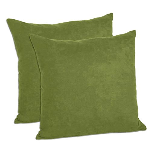 MoonRest Pack of 2- Suede Square Decorative Throw Pillow Covers Sofa sham Solid Colors Cushion Pillowcases (16 x 16 Sage Green)