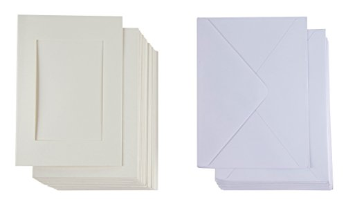 Share Album - 48-Pack Paper Picture Frames and Envelopes - Embossed Paper Photo Mats, Perfect for Inserting and Sending Memorable Documents, Ivory White, Holds 4 x 6 Inches Inserts