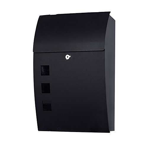 Wall Mounted Mailbox Large Outdoor Black Metal Lockable Drop Box Vertical Locking Letterboxes for Houses Front Porch Rural Residential Decorative Mailing Commercial Apartment Exterior Hanging Postbox