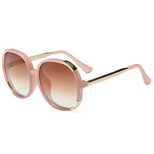 Brand Design Gradient Oversized Round Sunglasses Thick Frame Celebrity Fashion Shades(Brown Gradient Lens/Pink ()