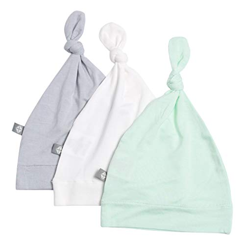 KYTE BABY Organic Bamboo Rayon Baby Beanie Hats - Super Soft Knotted Caps Available in Pattern and Solid Colors - 3 Pack (0-3 Months, Storm/Cloud/Mint)