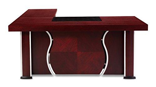 Pierce Polished Mahogany Modern Desk with Storage - Right (Leather Mahogany Cabinet)