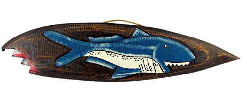 Westman Works Shark Attack Wooden Surfboard Wall Plaque Sign for Home or Bar Handcarved and Painted, 22