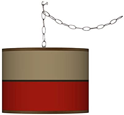 Swag Style Empire Red Shade Plug-in Chandelier