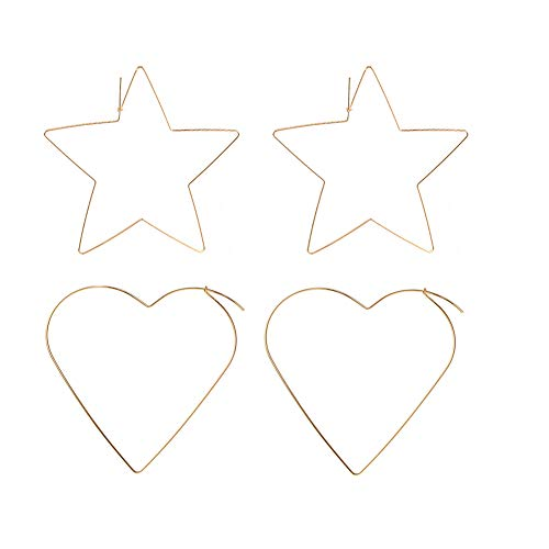Gold Wire Heart (Thin Copper Wire Hoop Earrings Set for Women Big Heart & Star Threader Dangle Hoops 2 Pairs (Gold))