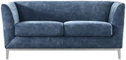 Acanva Luxury Mid-Century Modern Velvet Living Room Sofa, Loveseat, Navy blue