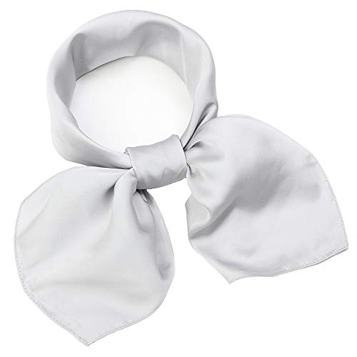 NaSoPerfect 100% Mulberry Silk Scarf Square Hair Scarves Fashion Pattern Neck Scarfs for Women Grey