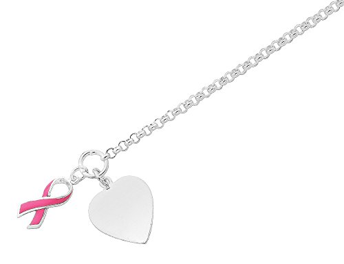 Pink Ribbon Toggle Bracelet (Toggle Heart and Pink Ribbon Bracelet in Sterling Silver 7.5 Inches)