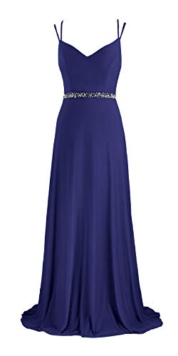 - Women Prom Dresses Deep V Neck Beaded Double Spaghetti Straps Backless Maxi Party Evening Dress (7615 Navy, L)