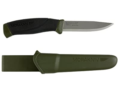 Morakniv Companion Fixed Blade Outdoor Knife with Carbon Steel Blade, Military Green, 4.1-Inch