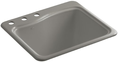 Kohler K-6657-3-K4 River Falls Self-Rimming Sink with Three-Hole Faucet Drilling, - Rimming Self Cashmere Bowl