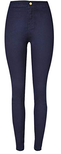 Fit Colour Glamorous Donna In Slim Jeans Denim Casual Blu Elastici Elasticizzati Pantaloni Semplice Scuro wqSwzORUax