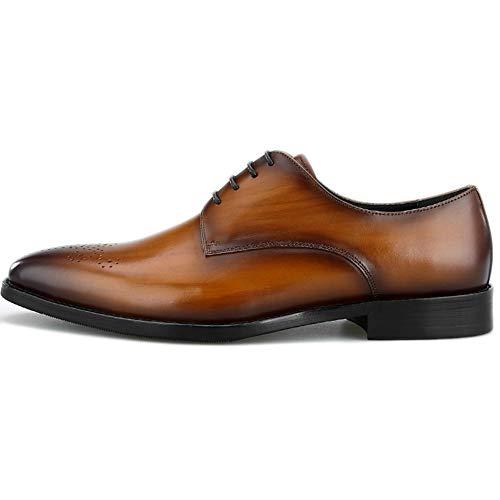 Scarpe Da Uomo Derby Vera Pelle Carve Business Formal Lace Up Shoe Calzature Fatte A Mano Business Work Business Evening Party Regali Di Nozze Brown
